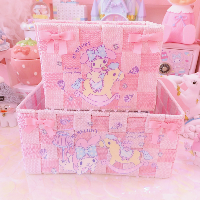 Kawaii Japan My Melody Cinnamoroll Bathroom Basket Living Room Table Accessories Collection