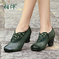 Comfort  handmade big flower genuine leather women shoes national trend vintage high heeled women shoes single
