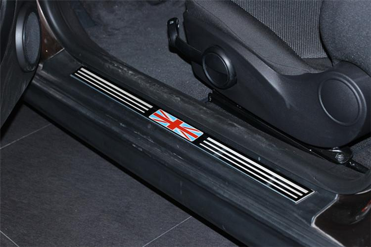 2pcs/lot MINI Works John Cooper Stainless Steel Door Sill Welcome Plate/Pedal Footboard R56 R57 Union Jack UK Flag Checker carking d1409124 uk flag style abs uv protected door handle cover for mini cooper countryman 4 pcs