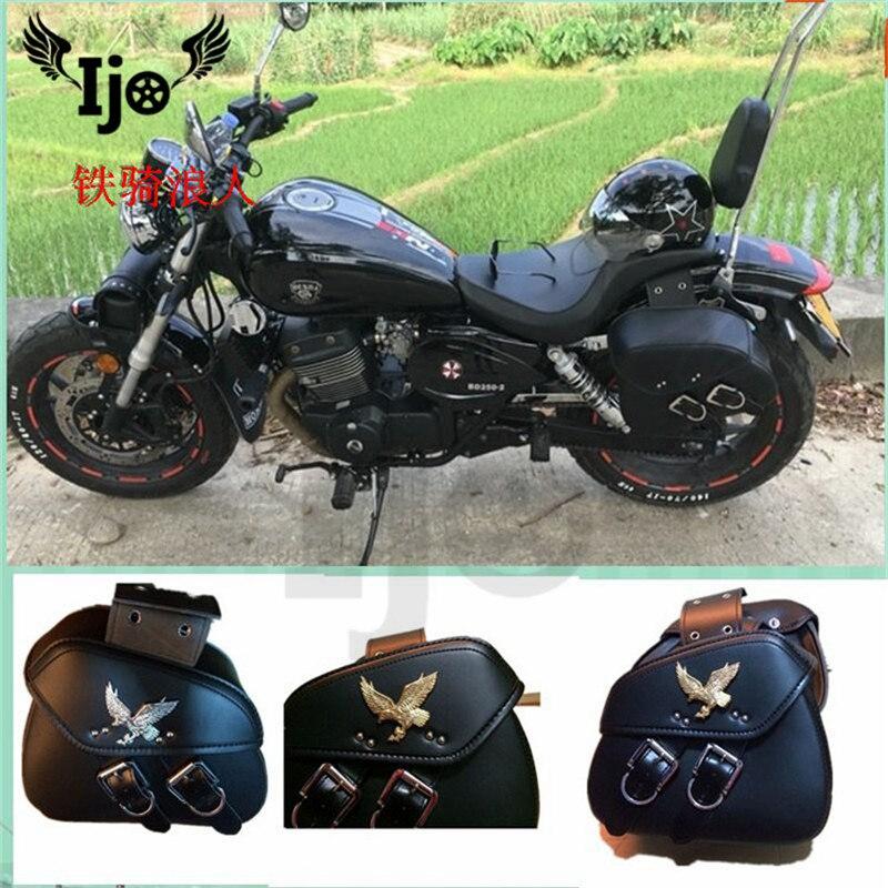 Sac de selle en cuir de haute qualité   moto rcycle sacoche de selle universel pour kawasaki honda suzuki, sac de selle à outils, sac de côté, Dirtbike mochila moto