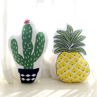 Pastoral style green cactus shaped pillow cushion, both sides printed yellow pineapple seat mat, decoration pillow with core
