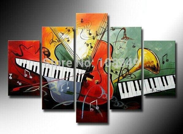 hand gemalt rahmenlose Draw Öl wand kunst Klavier das Cello ...