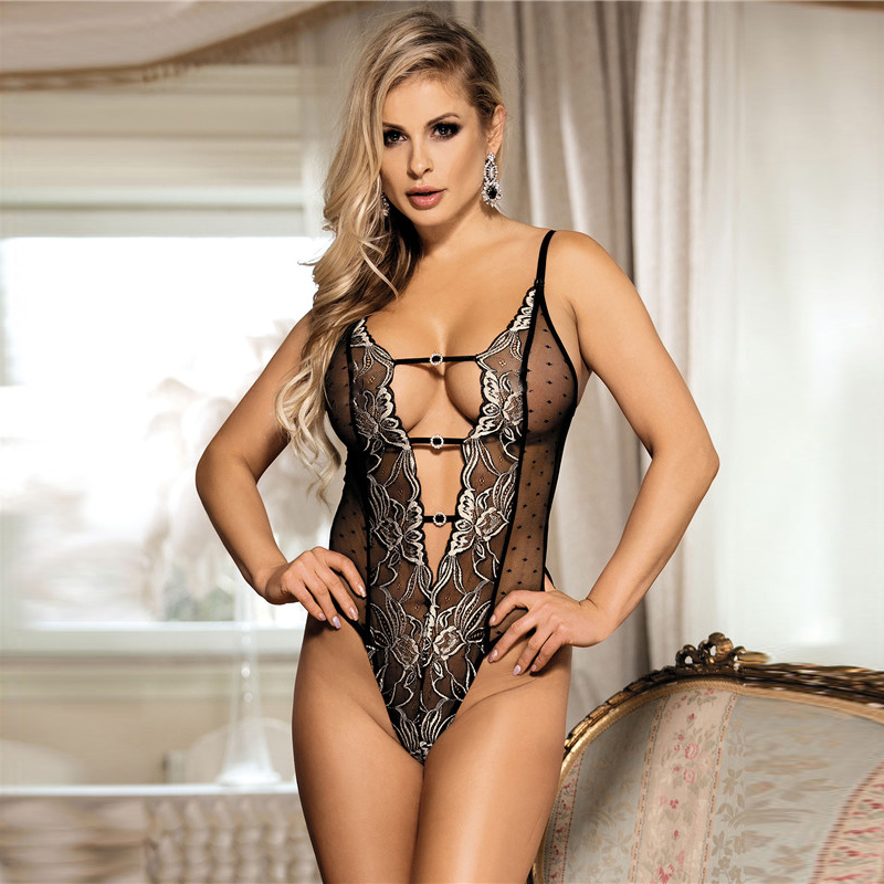 d66f17a4b Comeonlover Halter Plus Size Teddy With Lace Embroidery Body ...