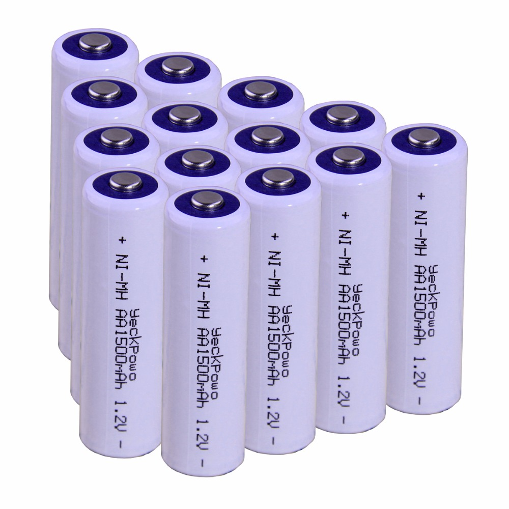 Real capacity! 14 pcs AA 1.2V NIMH AA rechargeable AA battery 1500mah YECKPOWO for camera razor toy remote control flashlight