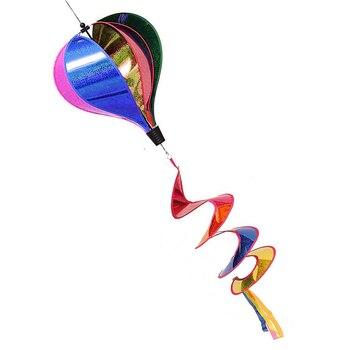 Rainbow Striped Sequins Windsock Hot Air Balloon Wind Spinner Yard Outdoor Decor