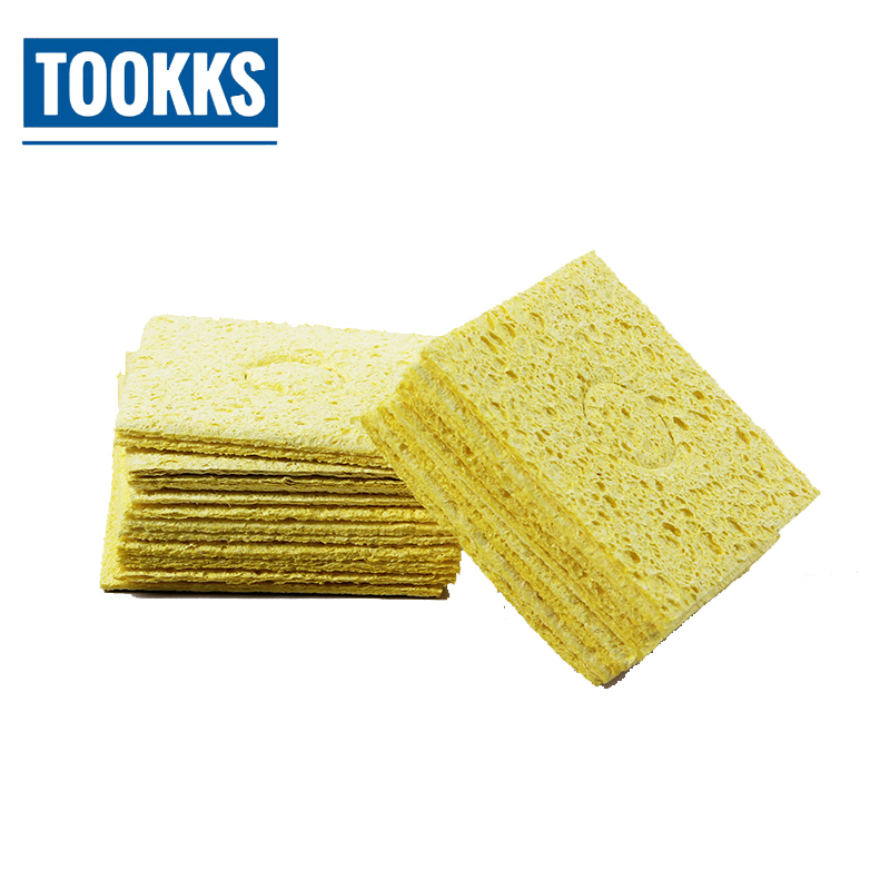 10pcs/20pcs High Temperature Resistant Soldering Iron Tip Welding Cleaning Sponge Yellow Welding  Cleaning Foam Sponge Pads