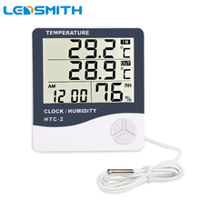 купить Digital Thermometer Hygrometer Electronic LCD Temperature Humidity Meter Weather Station Indoor Outdoor Clock HTC-2 по цене 312.83 рублей