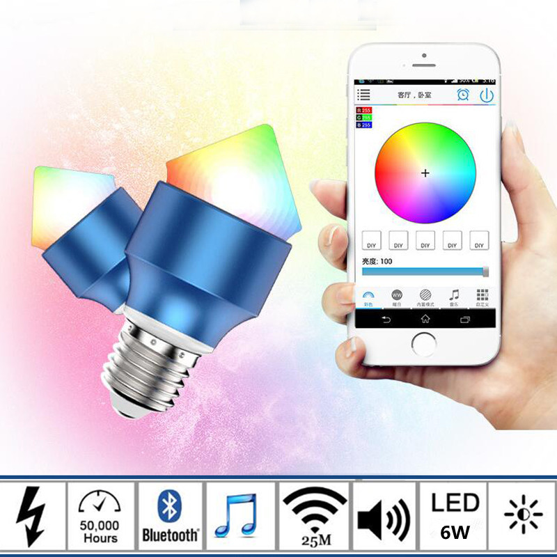 E27 6W RGBWW  Wireless Music Bluetooth 3.0 Smart LED Bulb Smartphone Controlled Dimmable Changing Lights Alarm Clock Led Bulb uf302 bluetooth telephone mtk6260 sync smartphone music address book