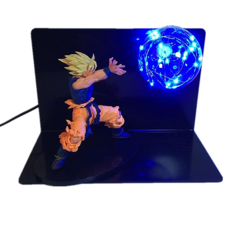 Dessin animé Dragon Ball Z figurine jouets Kamehameha attaque Super Saiyan Son Goku lampe à LED balle Flash bricolage affichage jouets de noël