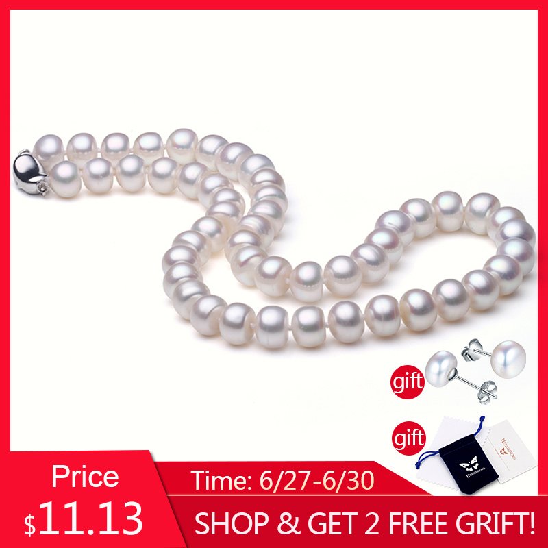 White Freshwater Natural Pearl Necklace For Women,Bread Round Pearl,Beads Necklace,Fine Jewelry 925 Silver Buckle,Wedding/DateWhite Freshwater Natural Pearl Necklace For Women,Bread Round Pearl,Beads Necklace,Fine Jewelry 925 Silver Buckle,Wedding/Date
