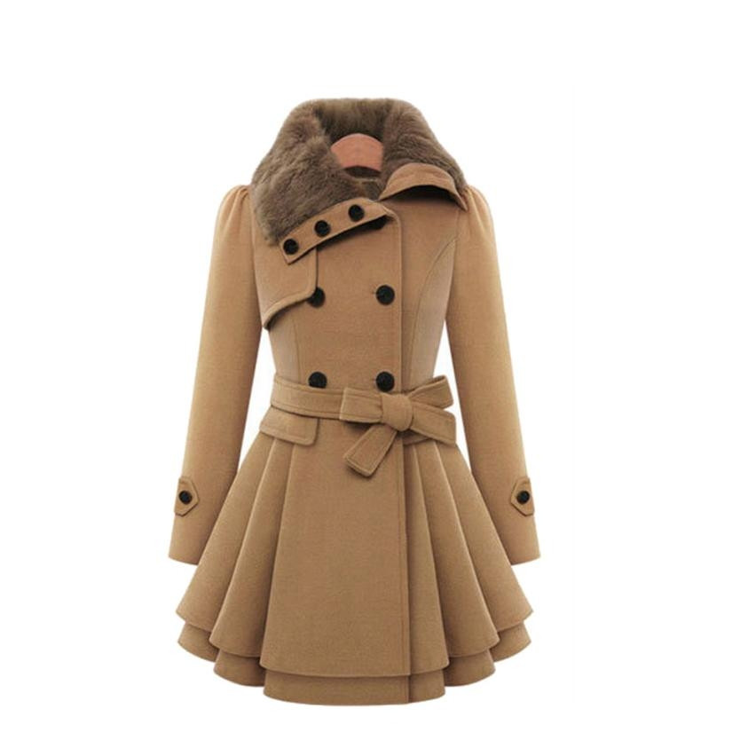 Winter Women Faux Fur Collar Thick Wool Coat Long Outwear manteau femme Wamer Solid coat Amazing long coat