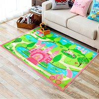 HUAHOO Baby Girls Bedroom Rugs Nylon Cartoon Kids Living Room Carpet Cartoon Castle Style Tapeta For