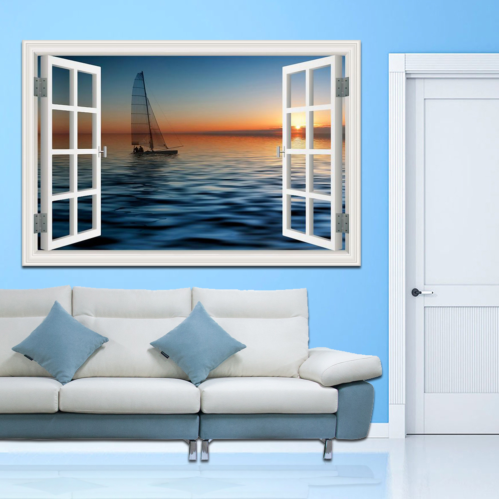 3D Window View Sailing Boat on the Sea Stickers High Quality 3D Wall Sticker Wall Decal Seascape Wallpaper Home Decor Wall Art
