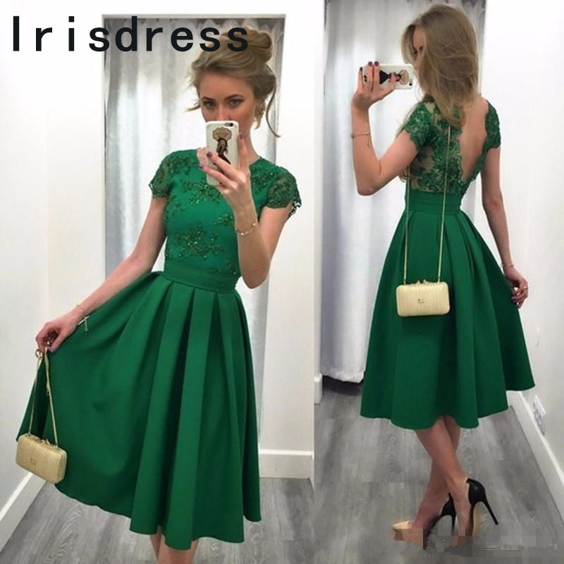 Elegant Knee Length Short   Bridesmaid     Dresses   2017 Green Applique Lace African Wedding Party Gowns robe demoiselle d'honneur