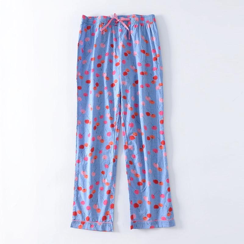 Floral Pants Cotton Lounge Pants Plus Size M-3XL
