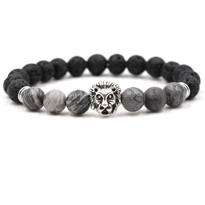 Black lava volcanic stone bracelet silver ancient silver lion head stretch line handmade beaded men and women bracelet LSL017
