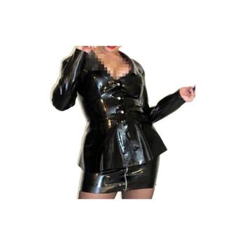 100% Latex Rubber Black Fashion uniform Top Stylish Coat Size XXS~XXL