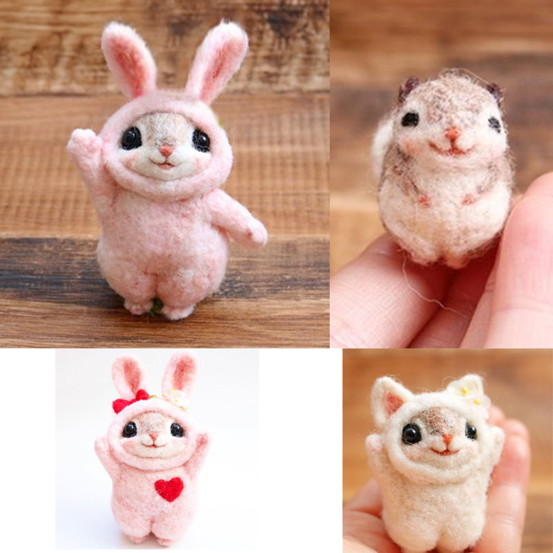 2019 Creative Popular Cute Pets Mouse Rabbit Squirrel Wool Felting Toy Doll Wool Felt Poked Kitting DIY Package Non-Finished(China)