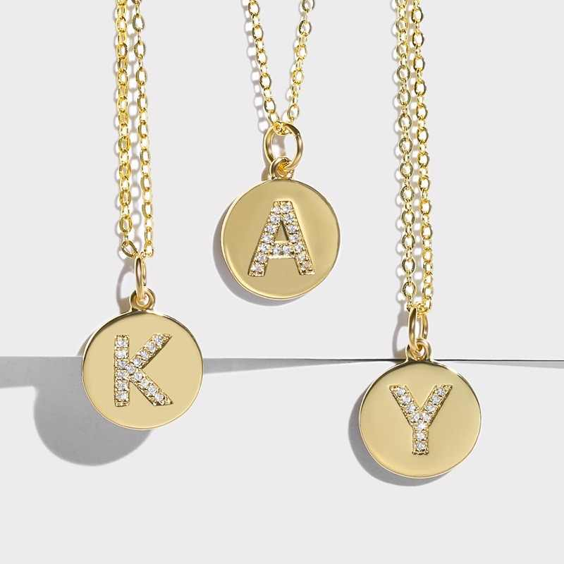 FLOLA Girls Initial Letter Necklace Gold 26 Letters Long Charm Necklaces Pendants CZ Gold Jewelry Personalized Necklace nkep15