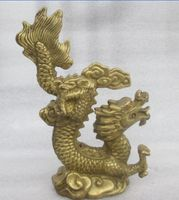 4.72 inch / China's rare manual hammer brass dragon statue