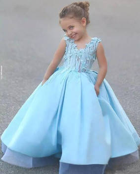 Gorgeous Customized Flower girl Dresses Ball gown 3D Flowers girls pageant birthday dress first communion dresses for girls