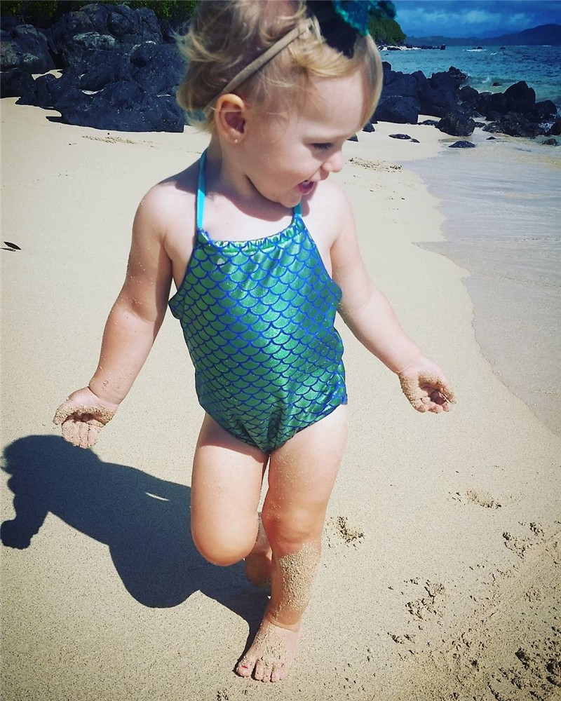 Baby Girl Kids Mermaid Bikini Swimwuit Cute Halter Style Swimwear Bathing Suit Summer Beachwear Costume For Girls