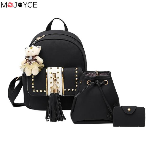 8fed1ca4a37a 3pcs set New Design Tassel Bear Backpack for Teenagers Girls PU Leather  Rivet Backpack Female