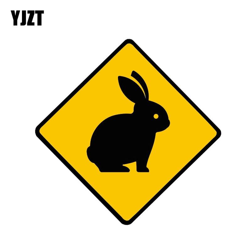 YJZT 10CM*10CM Cute Rabbit Animal Warning Car Sticker PVC Decal 12-1283