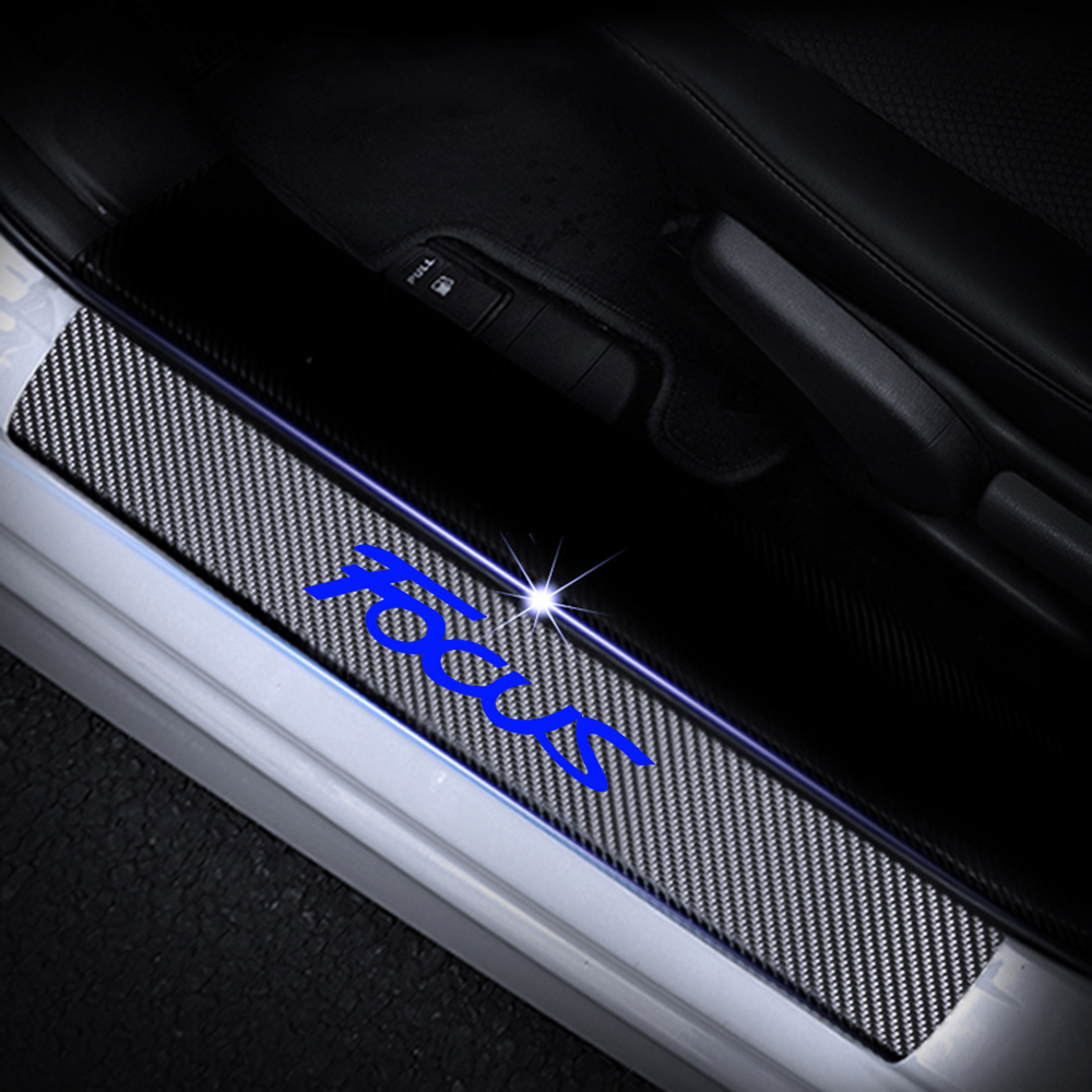 cheapest 4D Carbon Fiber Vinyl Sticker Door Sill Protector For Ford FOCUS Car Door Sill Welcome Pedal Stickers Auto Car Accessories 4Pcs