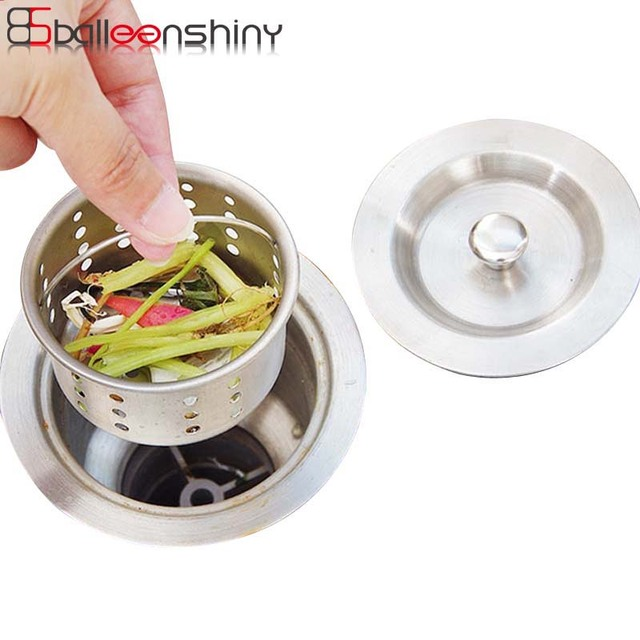 BalleenShiny Kitchen Sink Drainer Lid Pool Basket Water Funnel Sink Basin  Strainers Bathroom Kitchen Waste Bin