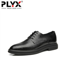 PHLIY XUAN New 2019 High Quality Genuine Leather Men Black Plaid Lace-Up Bullock Business Dress Oxfords Male Formal Shoes