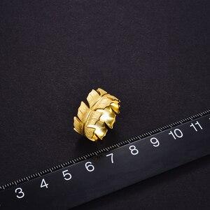 Image 5 - Lotus весело Настоящее серебро 925 проба Натуральный ручной работы дизайнер ювелирных украшений элегантные мягкие кольца с перьями для Для женщин Bijoux