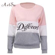 ArtSu 2017 Mùa Thu và mùa đông phụ nữ fleeve hoodies chữ in phụ nữ Khác Nhau áo giản dị của hoody sudaderas EPHO80027