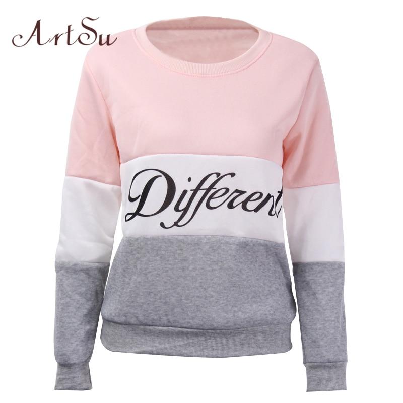 ArtSu 2018 Efterår og vinter kvinder fleeve hoodies trykte breve Forskellige kvinders casual sweatshirt hoody sudaderas EPHO80027