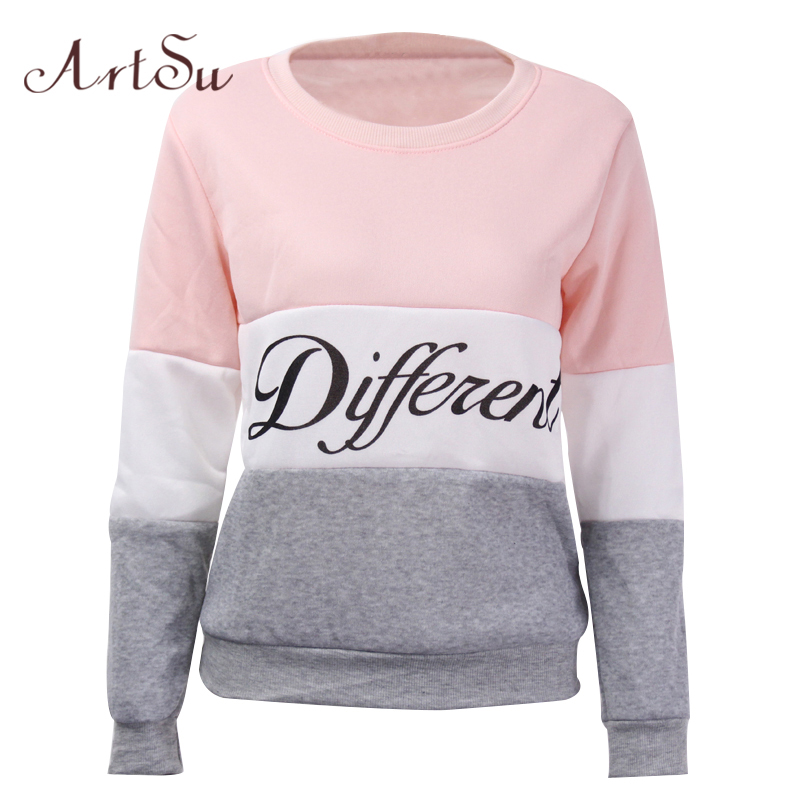 ArtSu 2019 Autumn and winter women fleeve hoodies printed letters Different women's casual sweatshirt hoody sudaderas EPHO80027
