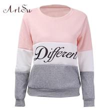 ArtSu 2019 Autumn and winter women fleeve hoodies printed letters Different women s casual sweatshirt hoody
