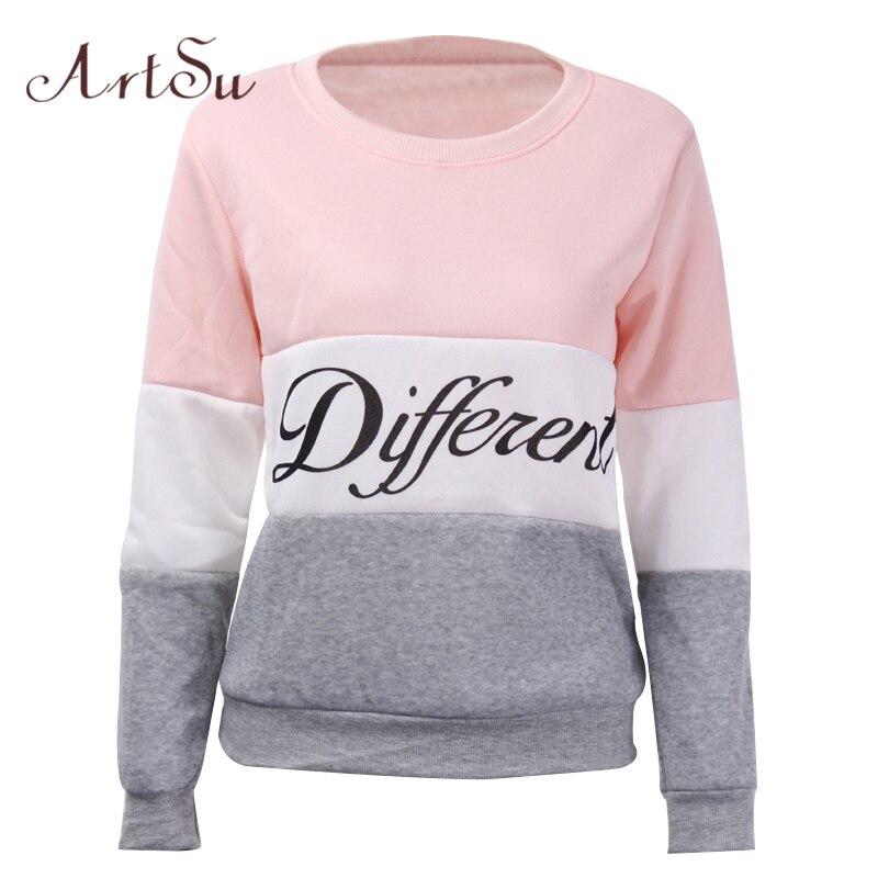 ArtSu 2019 Herbst und winter frauen fleeve hoodies gedruckt letters Verschiedene frauen casual sweatshirt hoody sudaderas EPHO80027