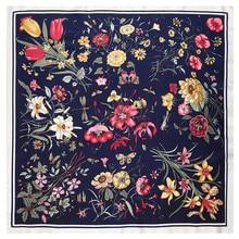 POBING шелковый шарф женский цветочный принт шелковые платки женский шейный платок маленькая бандана квадратные шарфы женские аксессуары 60*60 см