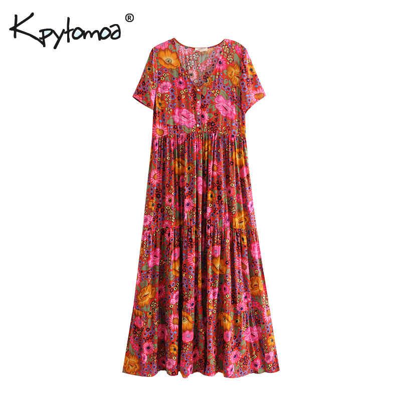Богемное шикарное летнее винтажное длинное платье с цветочным принтом и пуговицами для женщин 2019 модное Плиссированное пляжное платье с коротким рукавом vestidos mujer