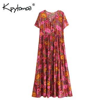 4721d5180 Boho Chic verano impresión Floral Vintage botones vestido largo ...