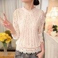 Женственный Blusas 2016 весна новых женских длинным рукавом кружева цветочные шифон топы футболки лето свободного покроя кружева блузки