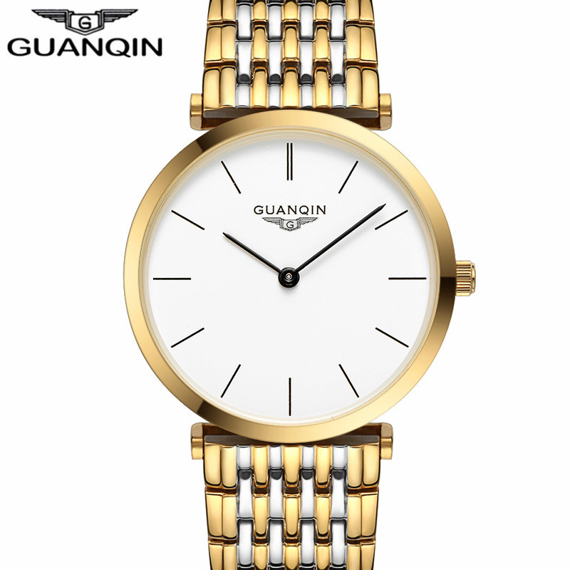 GUANQIN    Mens Watches Top Brand Luxury Gold Steel Clock Male Simple Ultra Thin Unisex Quartz Watch relogio masculino