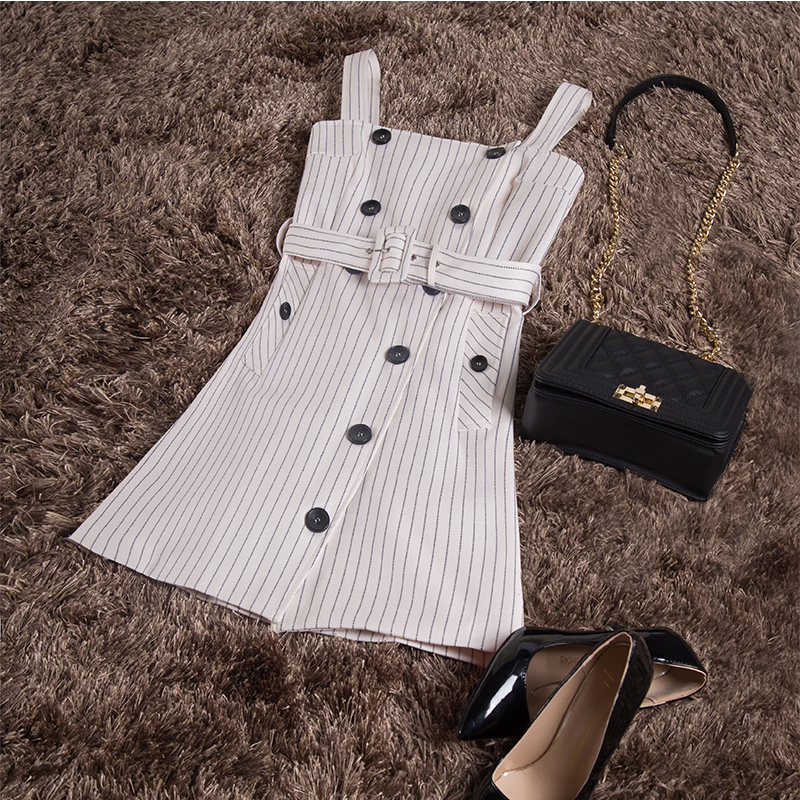 Beach Dress Hot Sale Summer Dress Women Sale Top Fashion Polyester A line 2018 Retro Striped Off Shoulder Double Breasted Strap