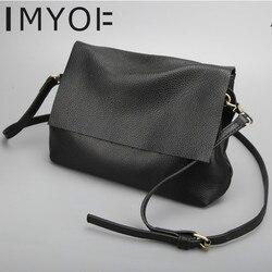 IMYOK 2019 sacos para as mulheres de Nova bolsa de Ombro Único Messenger Bags Personalidade Couro Genuíno das senhoras Sacos de Alta Qualidade Designer Hobos