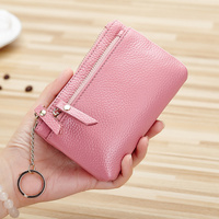 women genuine leather coin purse short mini zipper wallets female fashion real cowhide leather clutch wallets with key ring