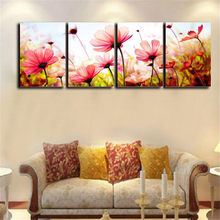 4 Panel Flower Wall Pictures For living Room Modern cuadros decoracion Canvas Printing Paint On Canvas posters prints(No Frame)(China)