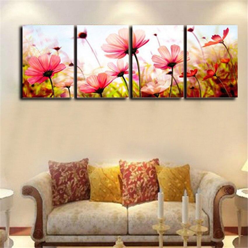 ᓂ4 panel flor Wall imágenes para sala moderna cuadros decoracion ...