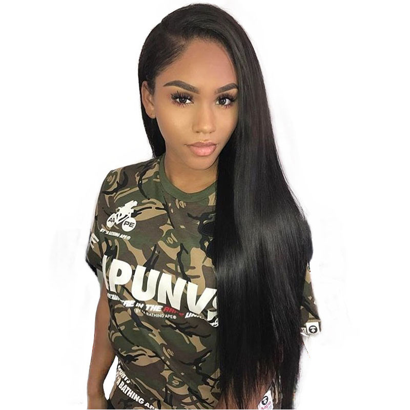 250% Density Lace Front Human Hair Wigs For Black Women Pre Plucked With Baby Hair Brazilian Virgin Wig Straight Sunny Queen