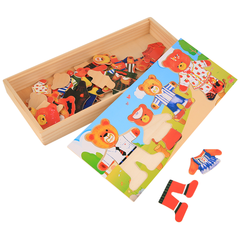 YKS Wooden Baby Early Educational Funny Toys Bear Clothes Changing Puzzle Set New Sale children s early childhood educational toys the bear change clothes play toys creative wooden jigsaw puzzle girls toys