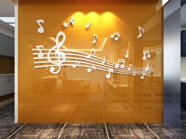 Note Staff 3D Acrylic Wall Stickers for Kids Rooms Dance Music Classroom Decoration Chambre Fille Pegatinas Paredes Decoracion